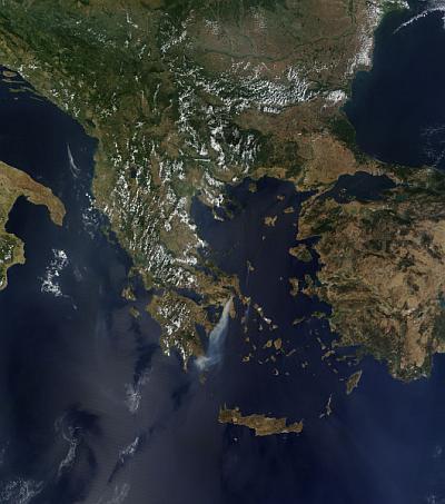 incendios grecia agosto 2009 Imagem de satélite mostra incêndios na Grécia